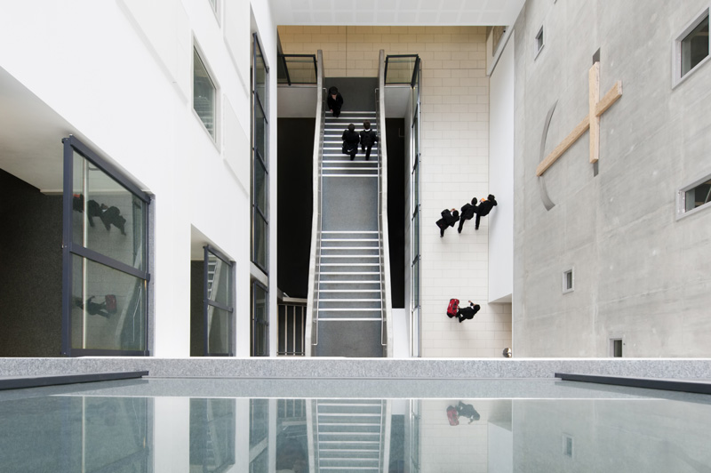 Looking down from the atrium at the Chelsea Academy - natural school website photography by James Robertshaw