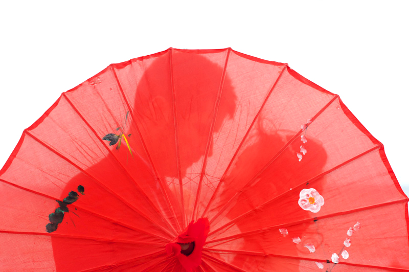 Couple behind Chinese umbrella