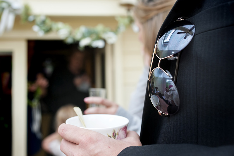 Bridal preparations reflected in sunglasses