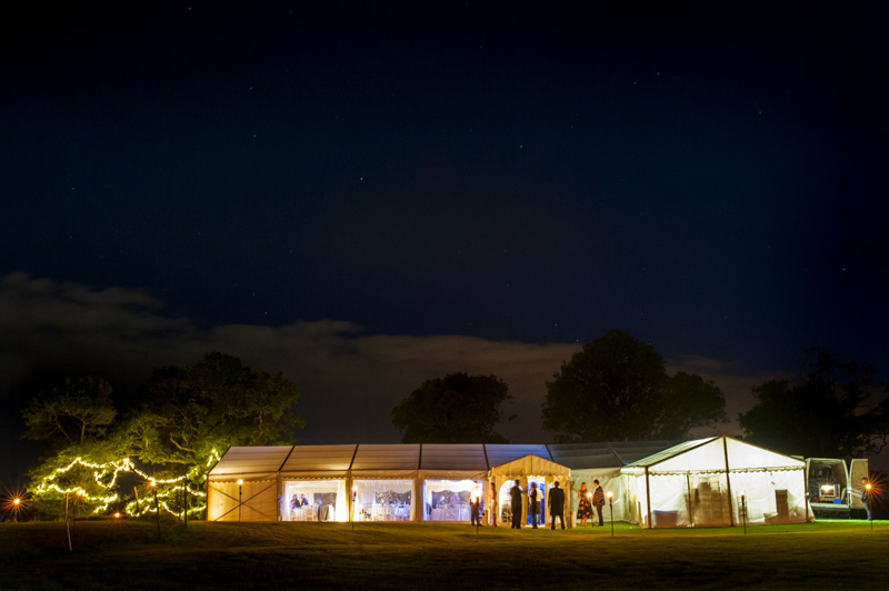 Wedding reception marquee at night at East Sussex wedding