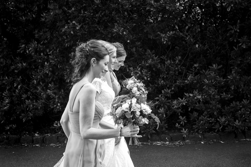 Bride and bridesmaids walking Bannatynes Hotel Hastings wedding