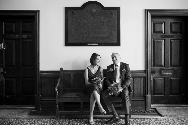 Bridesmaid and father of the bride at Lewes Town Hall