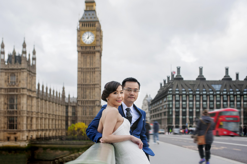 Central London pre wedding shoot in front of Big Ben