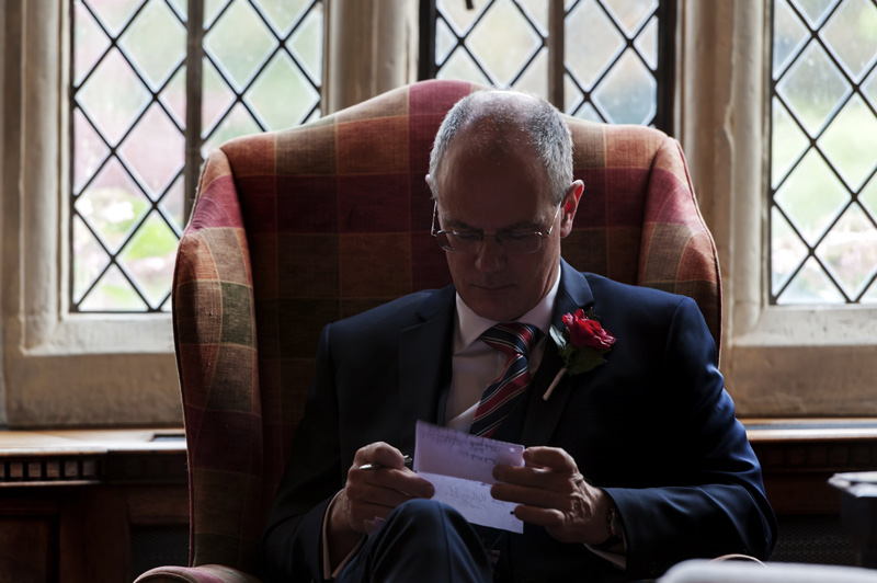 Groom preparing speech at Smallfield Place wedding
