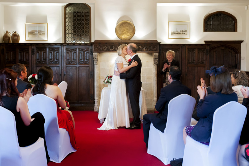First kiss at Smallfield Place wedding