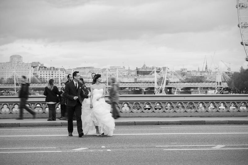 Central London pre wedding shoot crossing Westminster Bridge