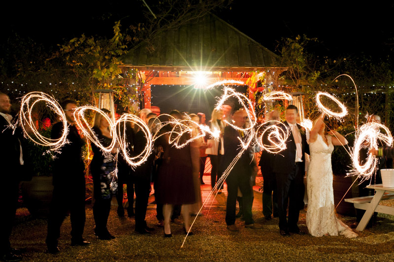 South Farm wedding fun with sparklers