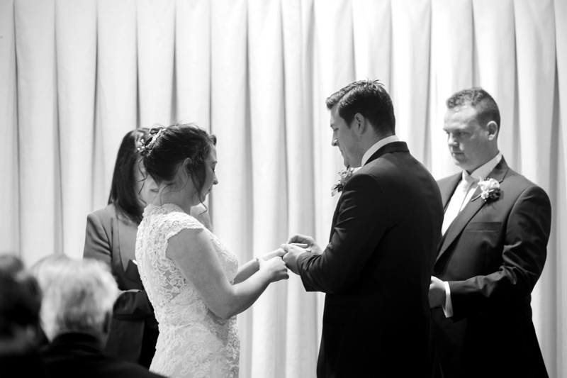 Placing ring on brides finger