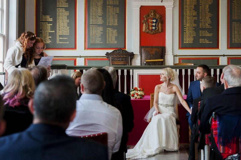 Emotional reading at Rye Town Hall wedding