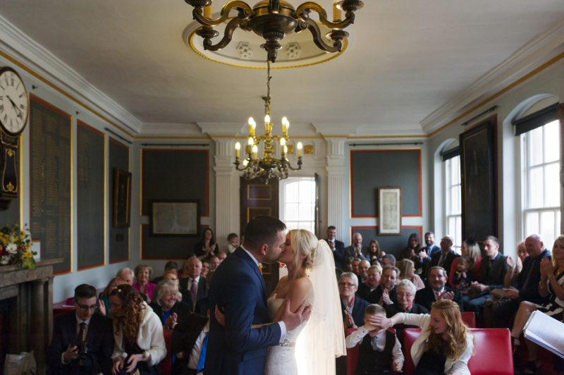 Bride and Groom kiss at Rye Town Hall wedding