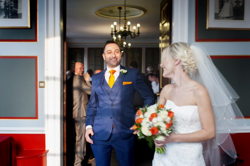 Bride and groom just married at Rye town hall wedding