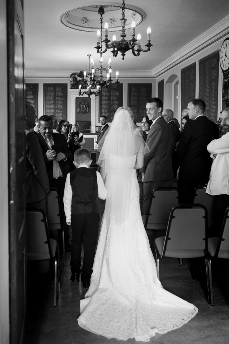 Bride entering room at Rye Town Hall wedding