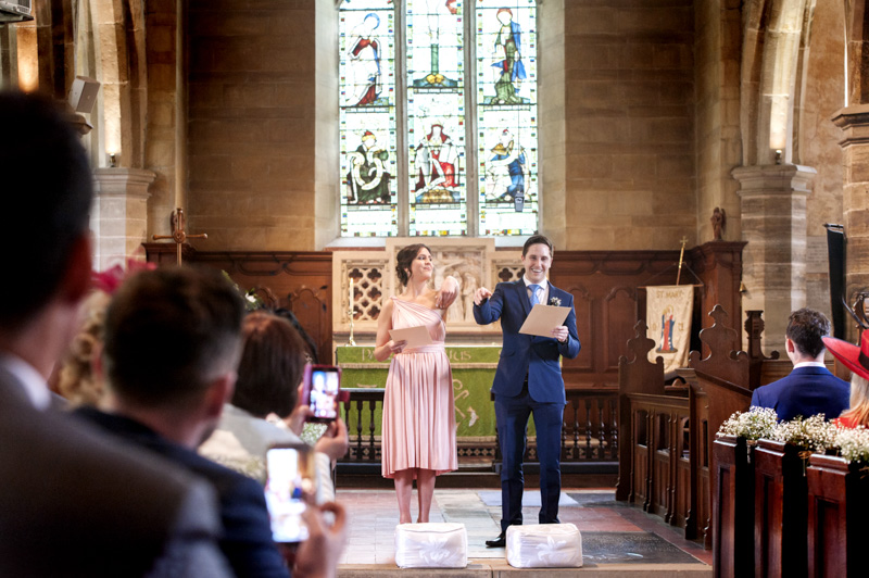 Funny reading during wedding at Chiddingstone church