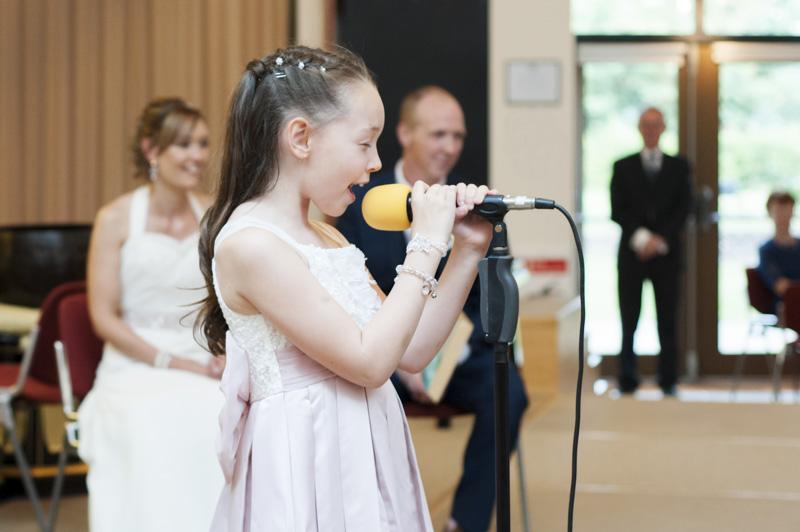 Girl singing at wedding
