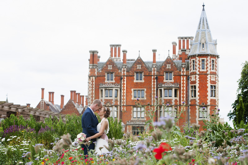 Bride and groom in front of Taplow Court