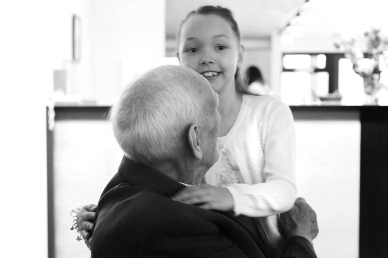 Taplow Court wedding - child and elderly person hugging