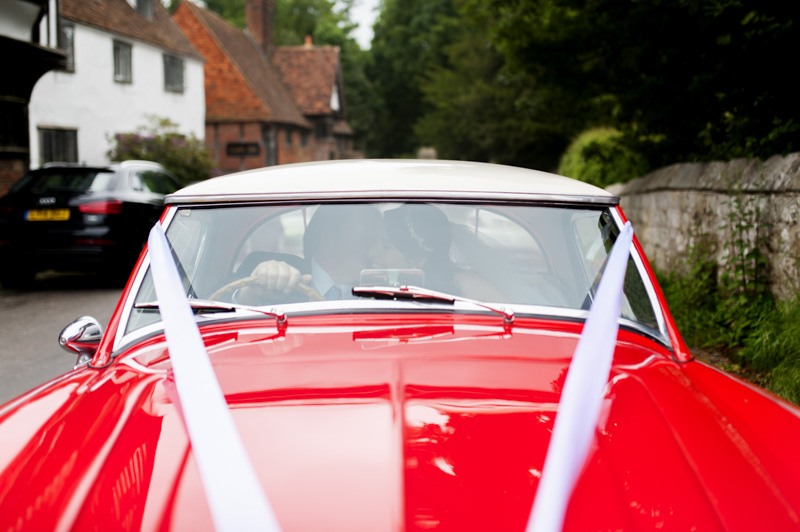 Plough at Leigh wedding - bride and father in car