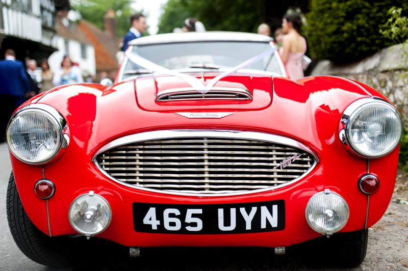 Austin Healey wedding car at Chiddingstone Church