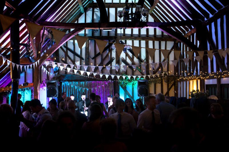 The Plough Leigh wedding reception guests and band playing