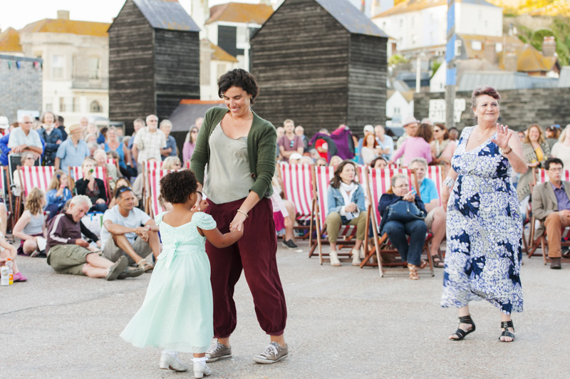 Hastings Stade events - little girl dancing with woman