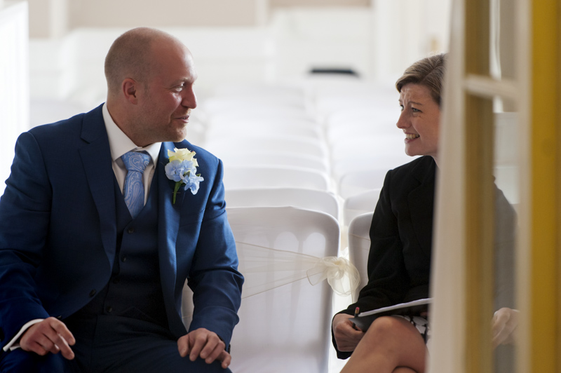 Crowhurst Park wedding - groom and registrar