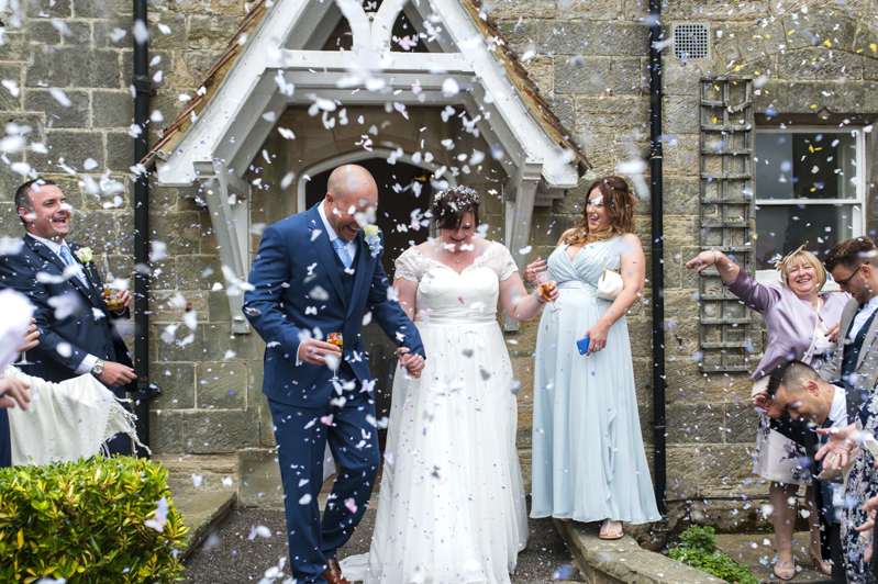 Crowhurst Park wedding - confetti