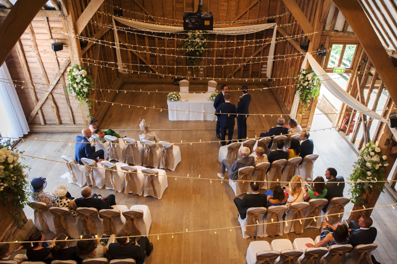 View from the Mezzanine at Tewin Bury Farm wedding