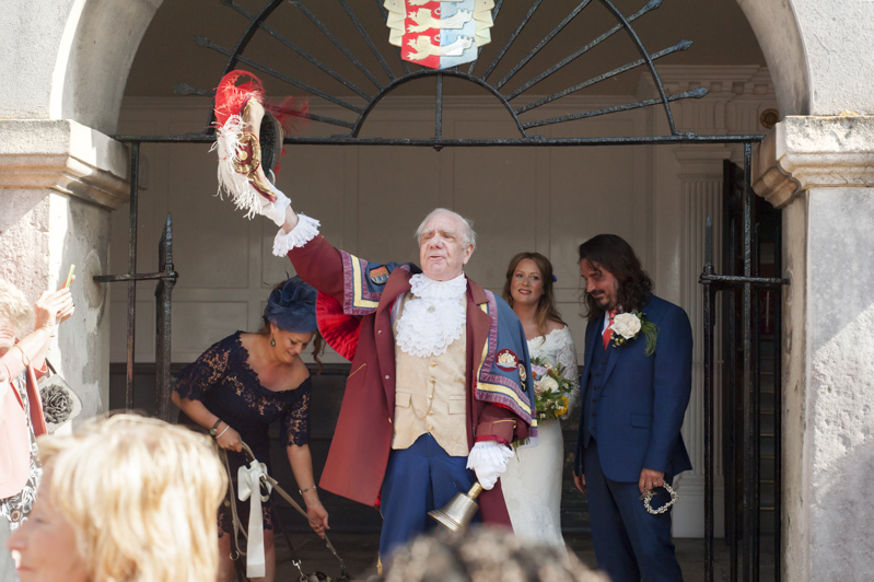 Couple and Town Crier at Rye Town Hall wedding