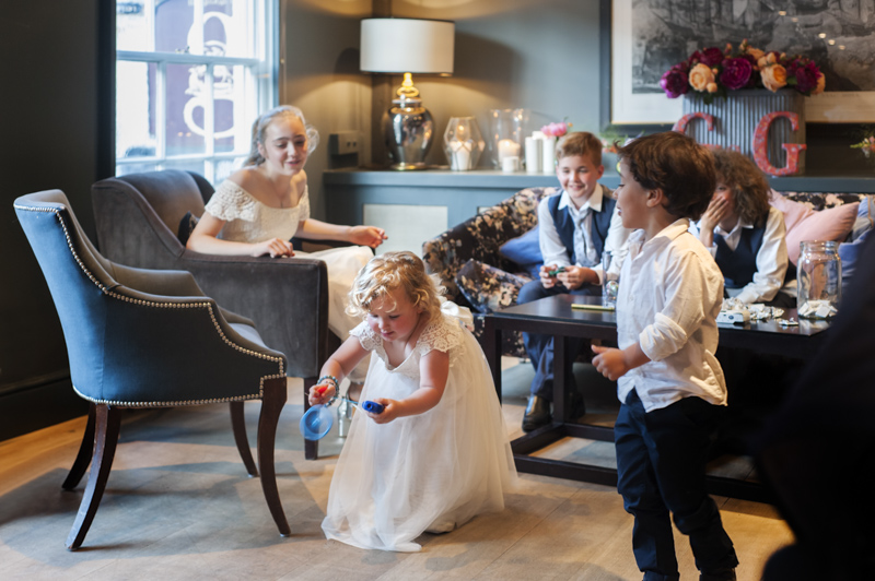 Kids playing at the George in Rye wedding