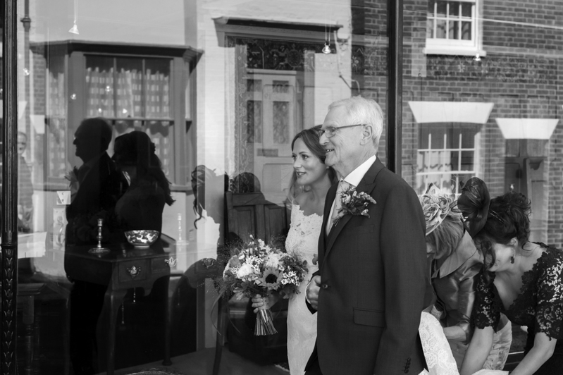 Bride and father  at the George in Rye wedding