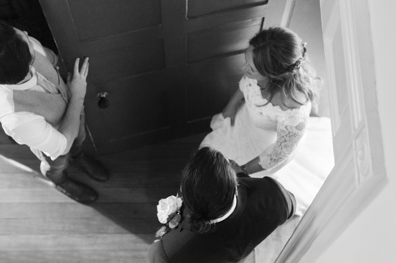 Couple entrance from above at the George in Rye wedding