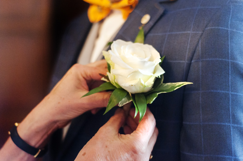 Close up of groom buttonhole