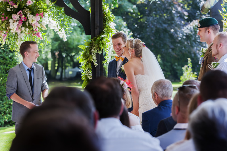 Wedding ceremony at Hayne House wedding