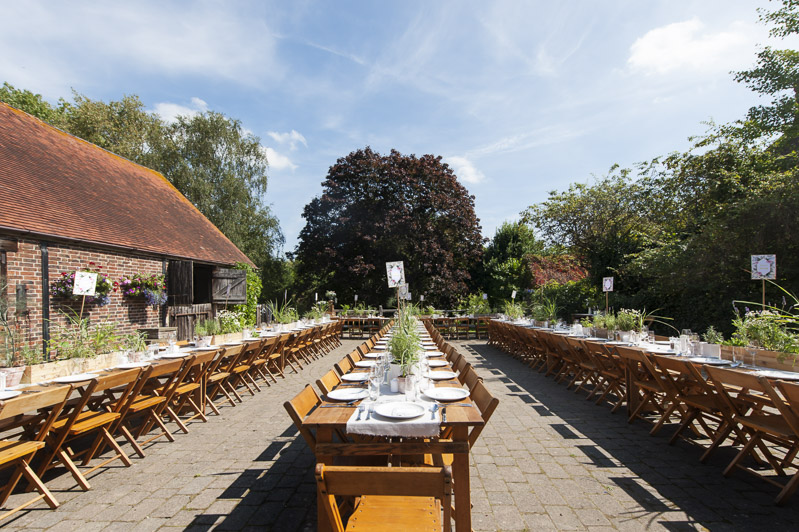 Outdoor wedding tables set for wedding breakfast