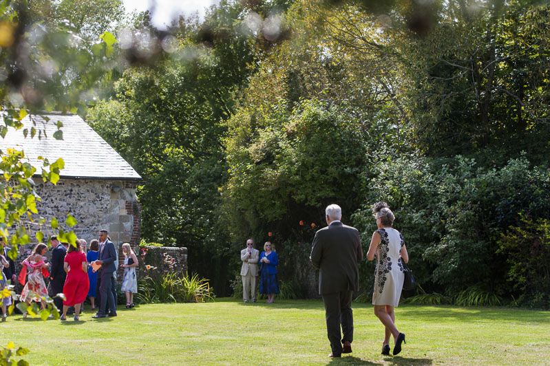Guests arriving at Otham Court wedding