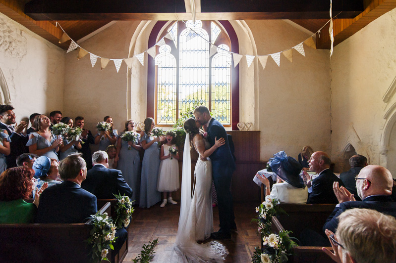 First kiss at Otham Court wedding