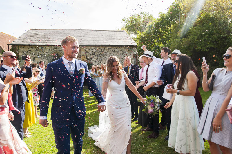 Confetti at Otham Court wedding