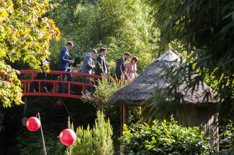 Wedding guests walking through gardens