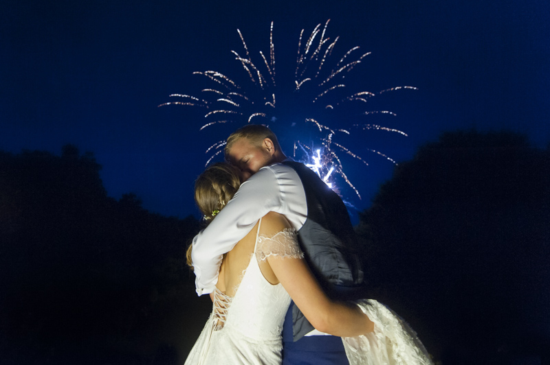 Newlyweds and fireworks