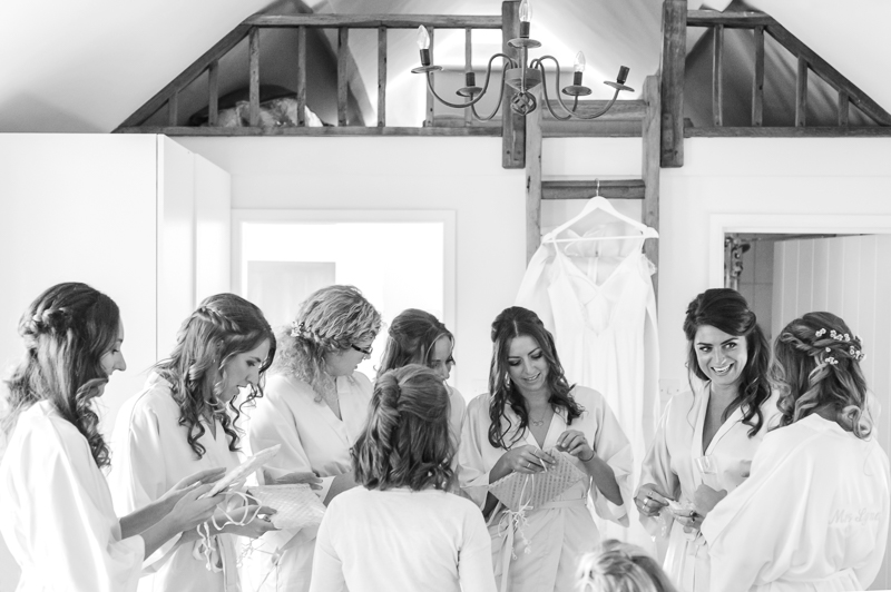 Bridesmaids during bridal prep