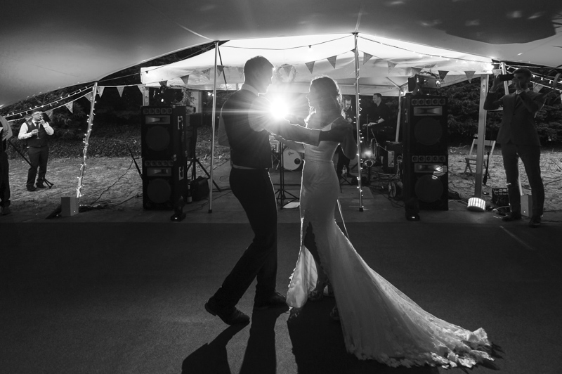 First dance at outdoor wedding reception