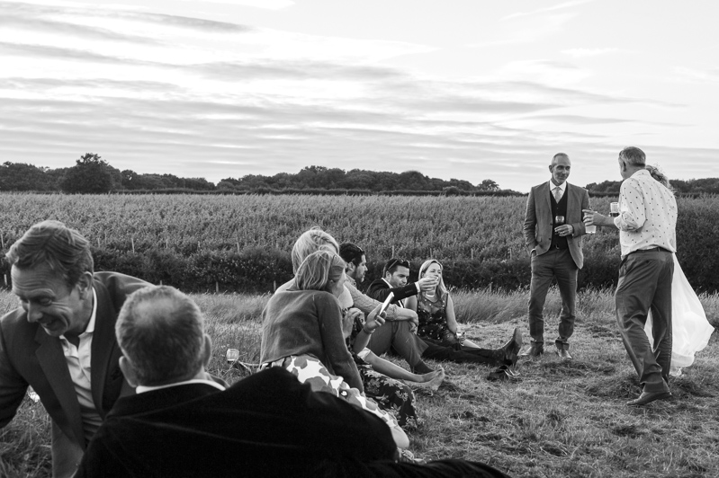 Guests relaxing at Court Gardens Farm wedding