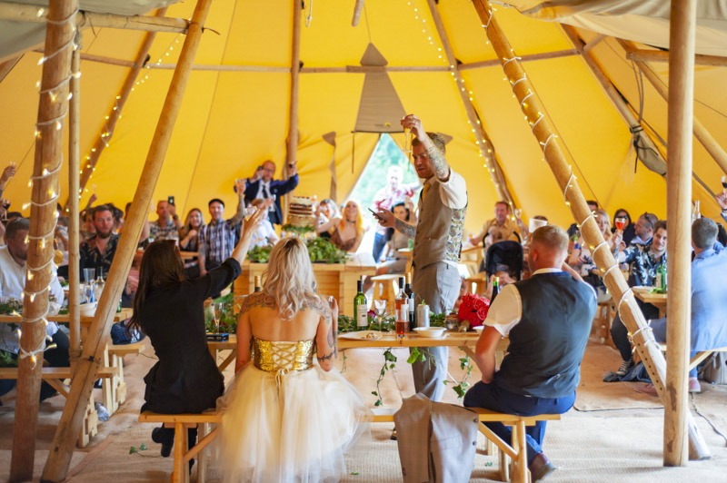 Outdoor wedding by alternative Sussex wedding photographer James Robertshaw